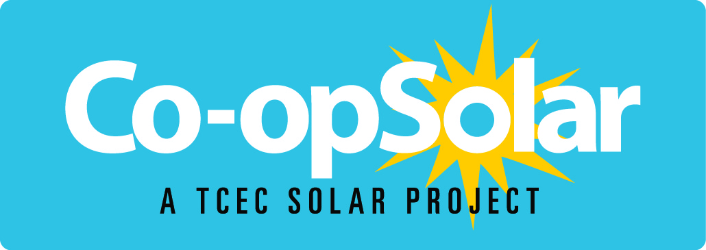 Co-op Solar, A TCEC Solar Project - Logo with blue background and yellow sun