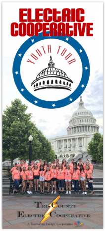 Electric Cooperative Youth Tout students standing outside of United States Capitol building