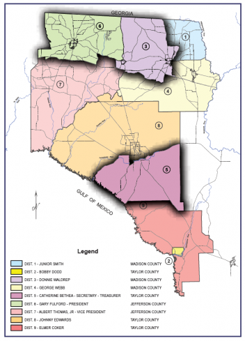 Map of TCEC 9 Board Districts in North Florida. Distrcit 3 & 5 & 6 highlighted
